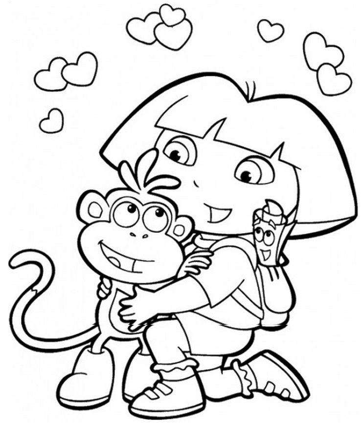 Dora The Explorer Valentine Coloring Pages Nick Jr Coloring Pages Dora Coloring
