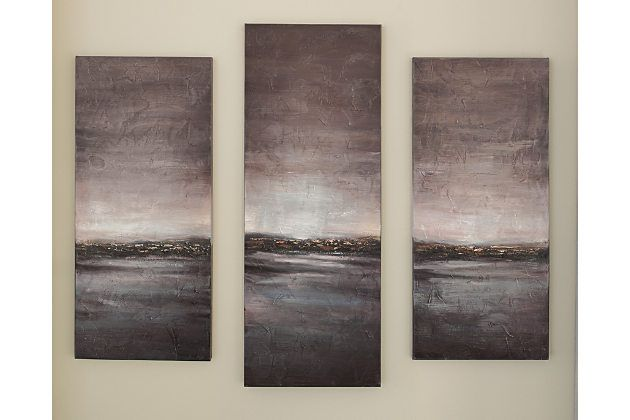 Staggeringly Beautiful Three Piece Staggered Wall Art Of A Luminous Landscape Breaks New Ground Hand Painted Ar Three Piece Wall Art Art Multi Color Wall Art