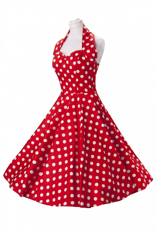 21dcd78d60b 50s Retro halter Polka Dot Red White swing dress cotton sateen in ...
