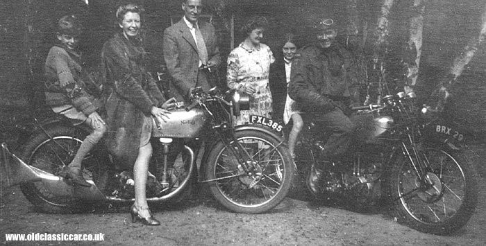 Men and Women on and around two old motorcycles    See More Exclusive pictures on Our Pinterest Page at http://pinterest.com/lcralliesinfo/world-war-ii-motorcycles/     Ride safe,  JB      LC Motorcycle Events Site  http://www.lightningcustoms.com/motorcycleevents.html