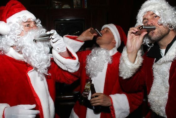 Image result for santa drinking from flask