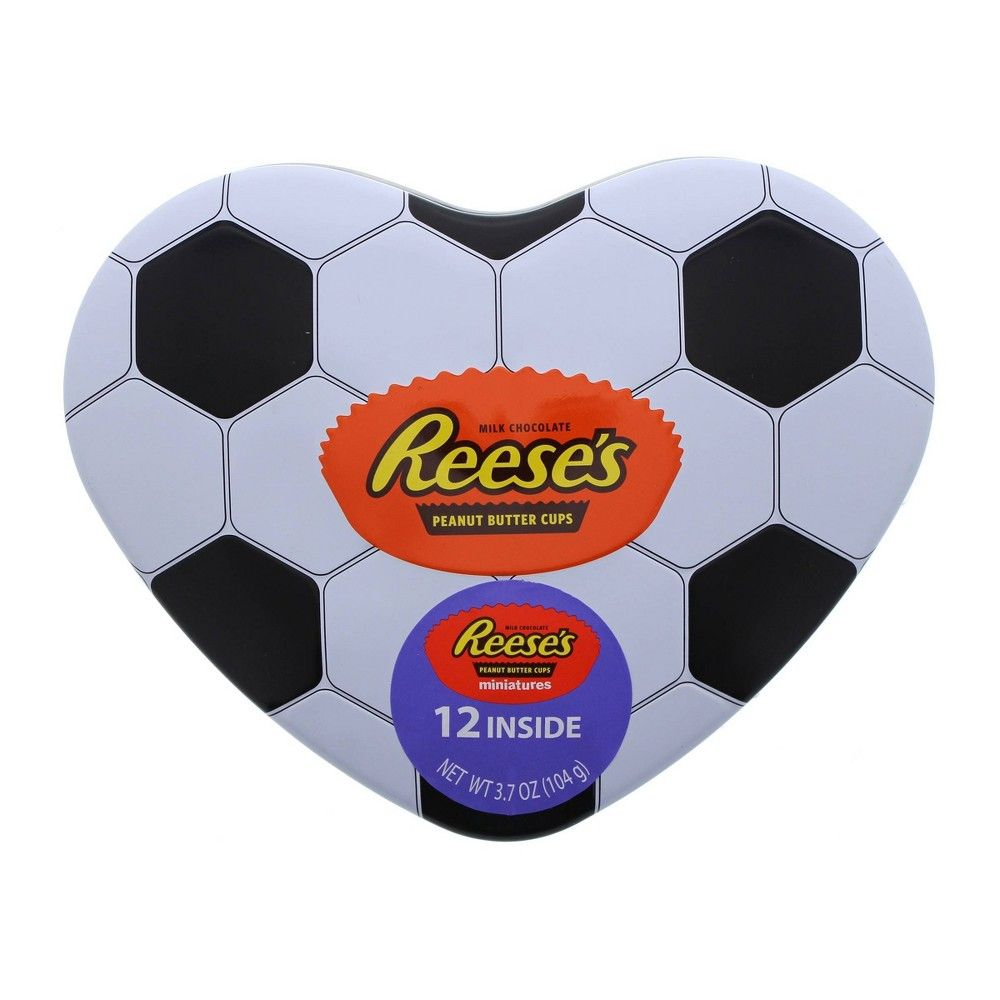 Hershey reeses valentines day soccer heart tin 37oz