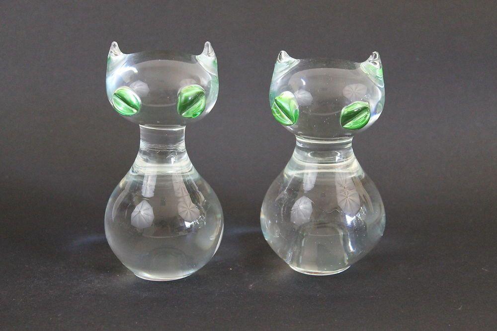 Vintage Pair Italian Art Glass Siamese Cat Figurines