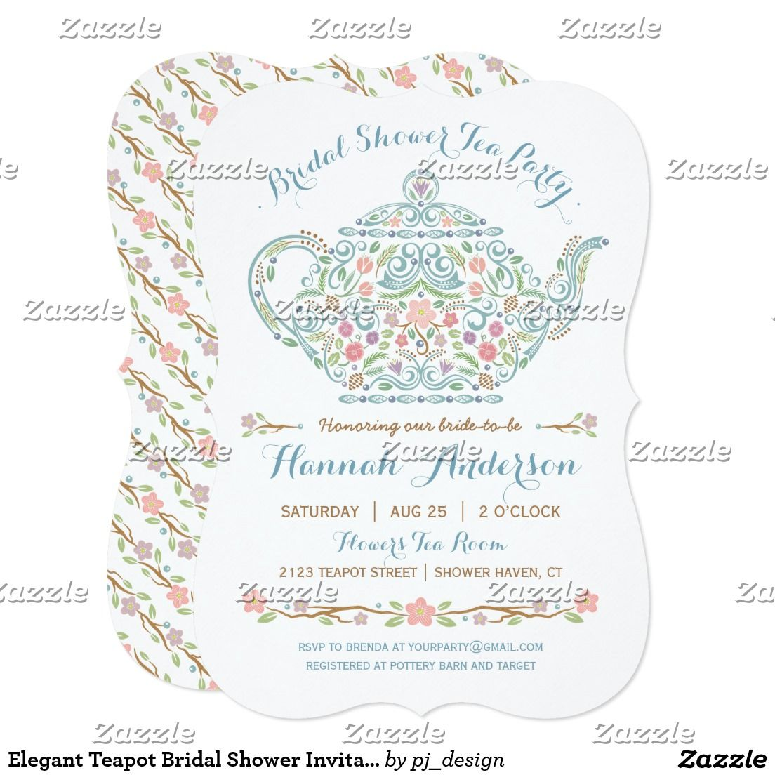 Elegant teapot bridal shower invitation tea party invitiation elegant teapot bridal shower invitation filmwisefo Gallery