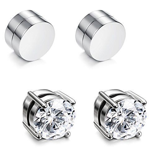 c712d81e9 UP Ultrapink JOERICA 2 Pairs Stainless Steel Magnetic Stud Earrings for Men  Women Non Piercing Clip on CZ Earrings Silver-tone 8MM
