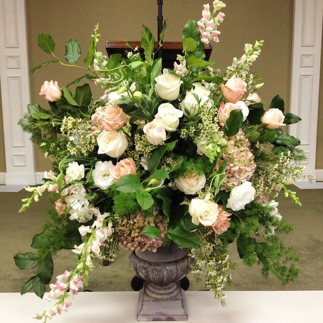 Photo of fresh arrangement: rose, English garden rose, snap dragon, antique hydrangea, li… – Flowers Decor