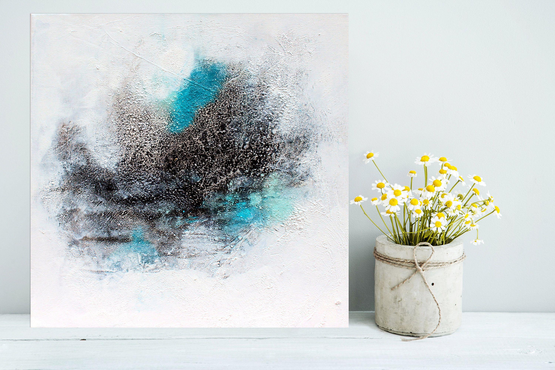 Unikat Painting Original Modern Abstract Painting Acrylic 40 X 40 Cm Turquoise Blue White Black Vintage In 2020 Abstract Painting Acrylic Modern Modern Abstract Painting Abstract Painting