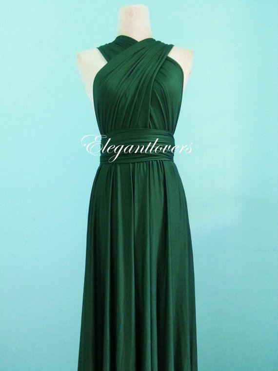 Dark Olive Wedding Dress Bridesmaids Dress Infinity Wrap Convertible ...