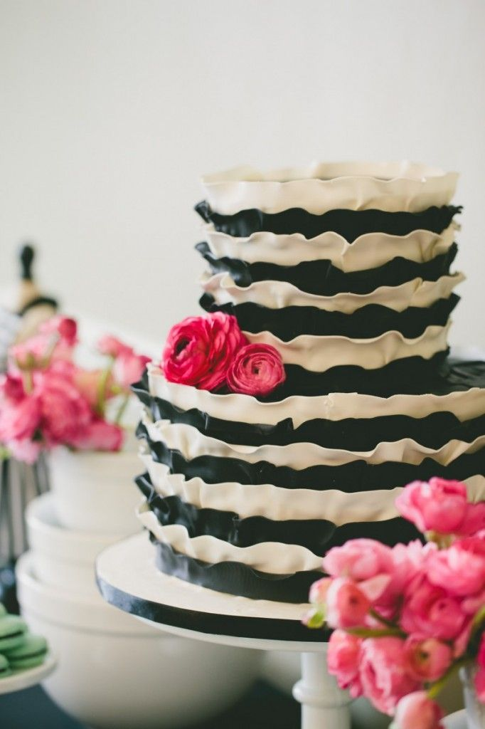 Black And White Striped Cake For A Baking Themed Bridal Shower By