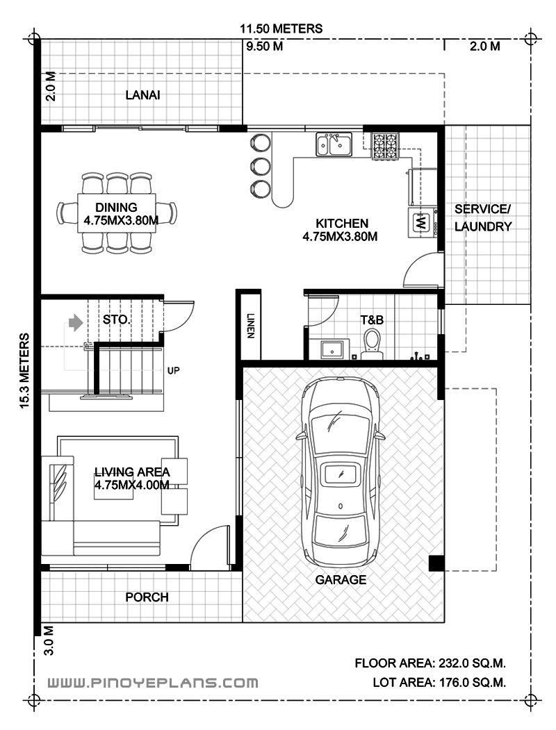 Arabella Three Bedroom Modern Two Storey With Roof Deck Mhd 2019039 Pinoy Eplans In 2020 Floor Plan Design 2 Storey House Design House Flooring
