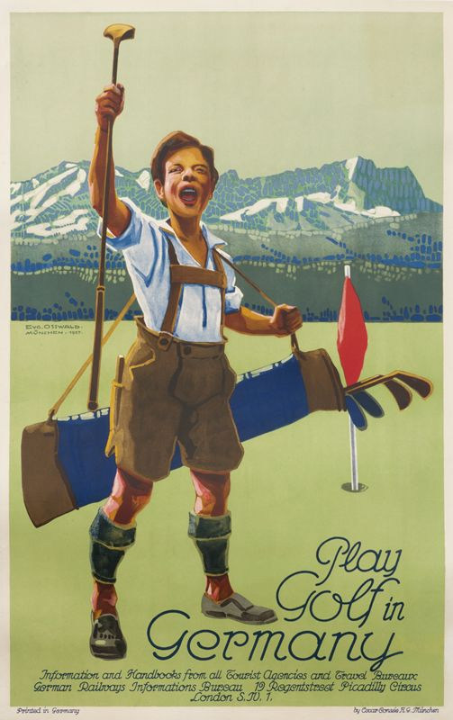 Play Golf In Germany By Osswald Cvg Shop Original Vintage Posters Online Www Internationalposter Com Vintage Posters Golf Poster Vintage Travel Posters