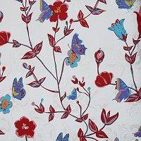 Vintage Chic tapetti kukkia ja perhosia punainen