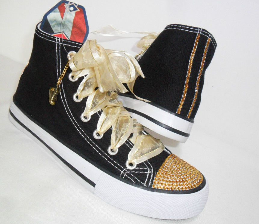 Womens High Top Trainer Boots Black Gold Crystal Bling Pumps