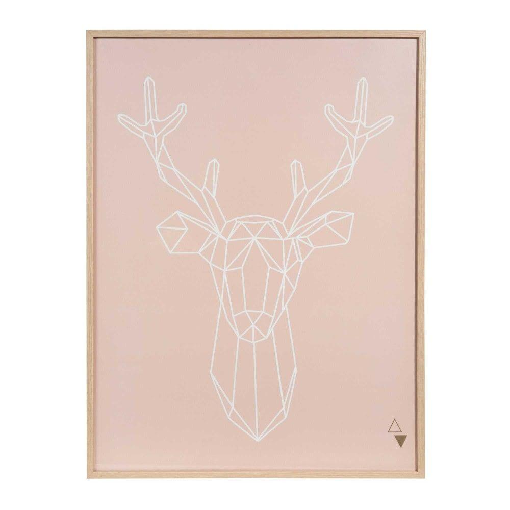 Tableau Cerf En Bois 45 X 60 Cm Modern Chambre Rose Gold