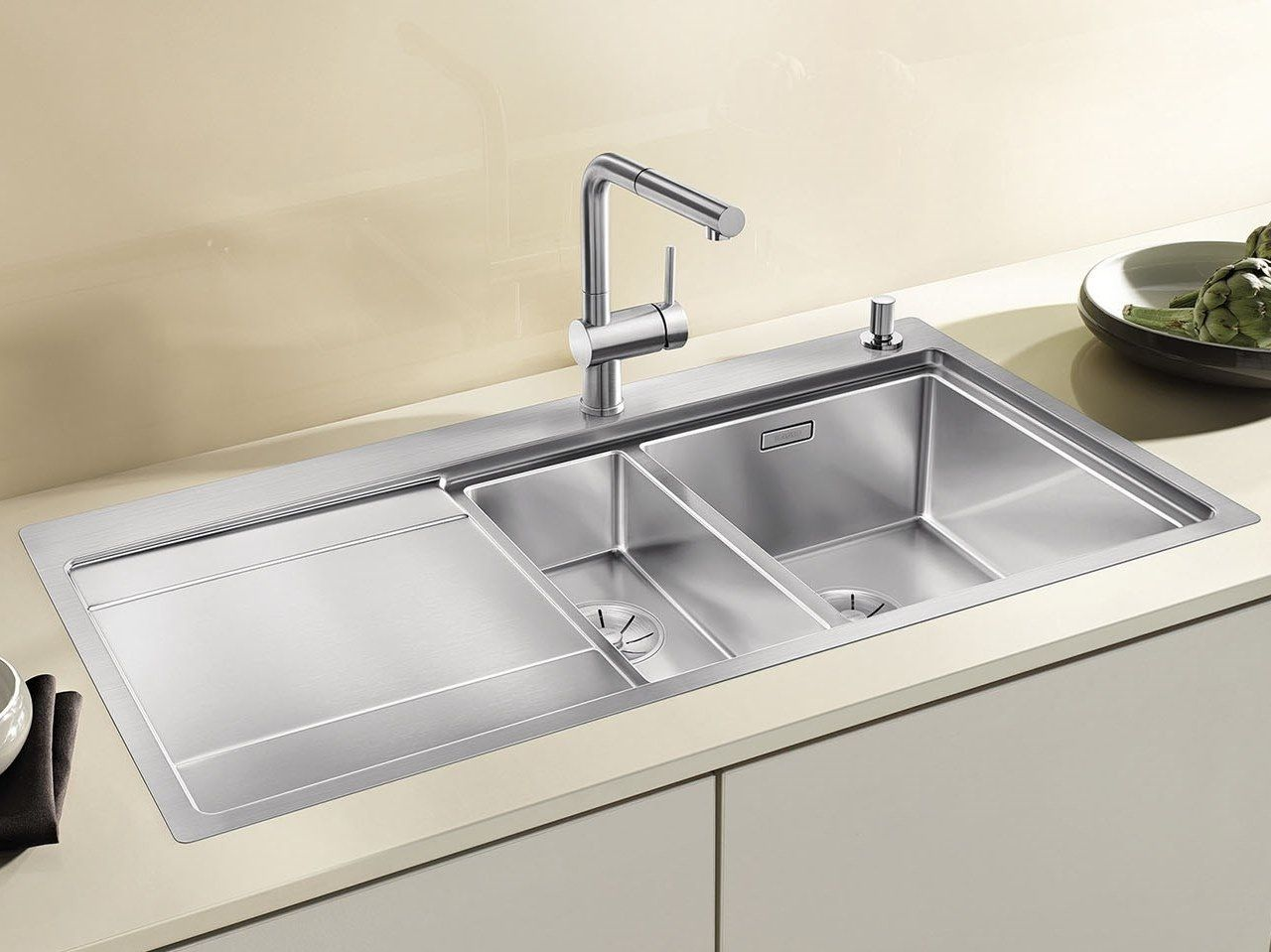 1 1 2 Bowl Built In Stainless Steel Sink With Drainer Blanco Divon Ii 6 S If By Blanco In 2020 Stainless Steel Sinks Sink Kitchen And Bath