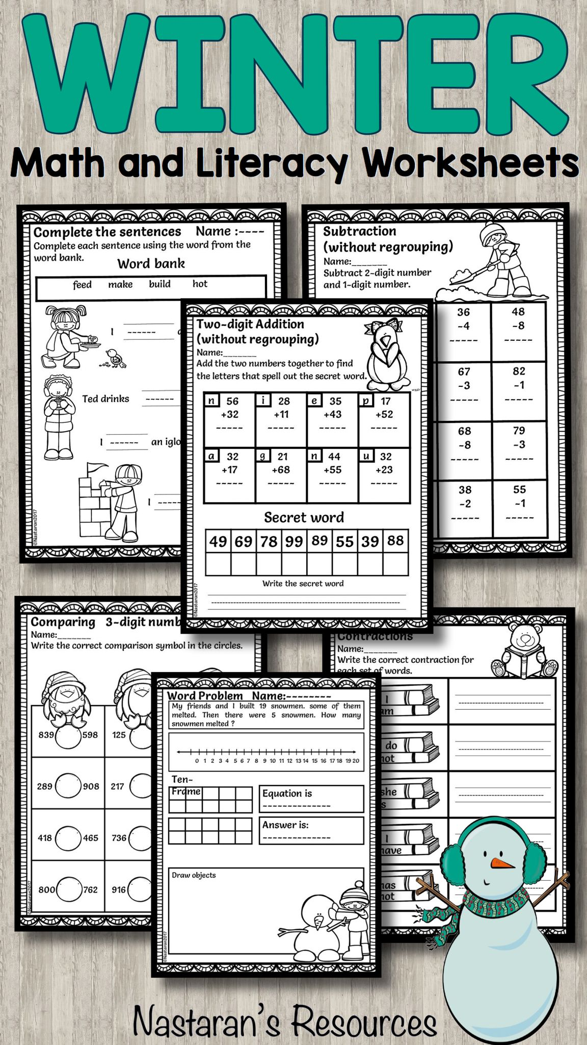 Winter Activities Math And Literacy For First Grade
