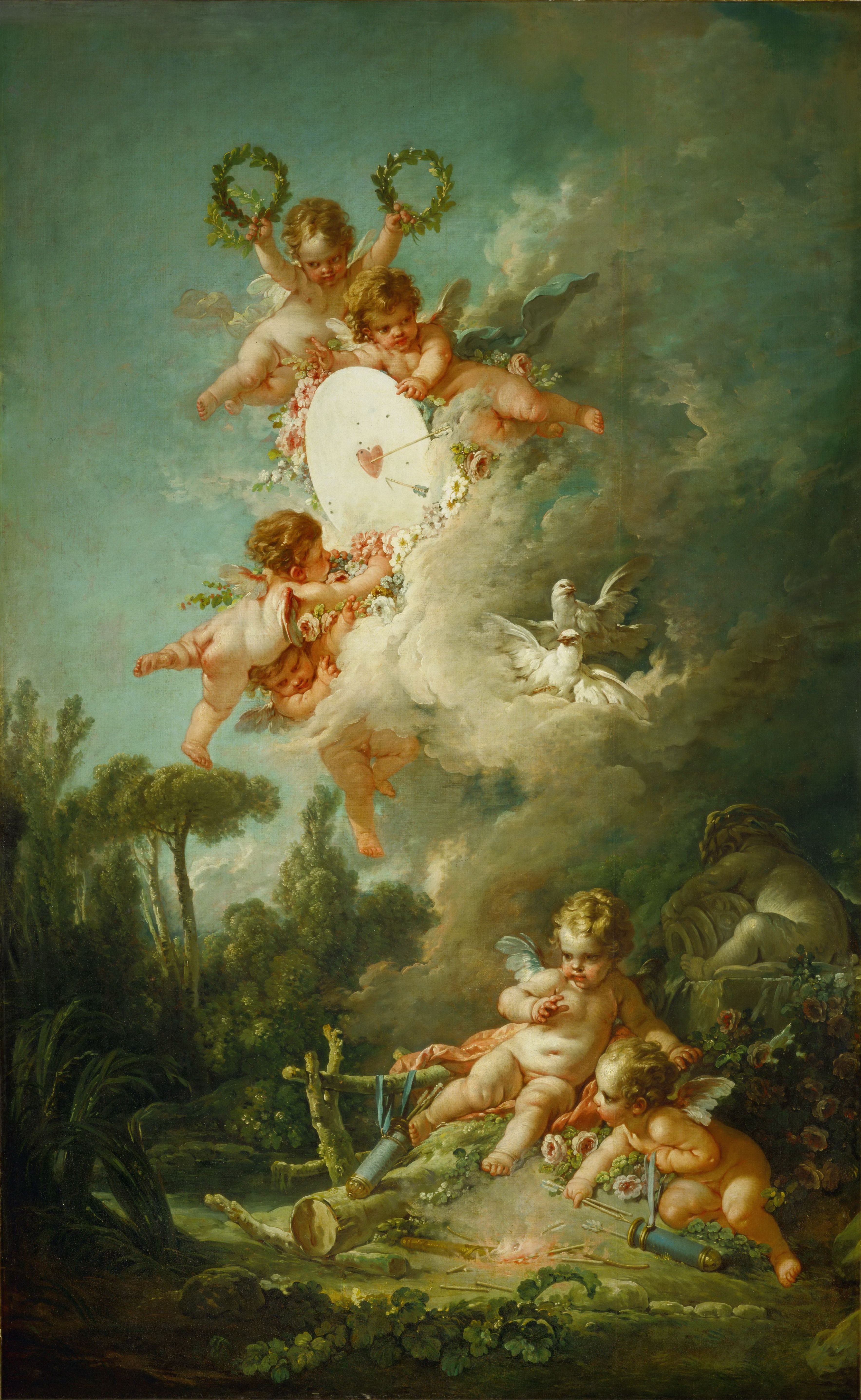 Putti, shooting at a target (1758) (268 x 167) (Louvre) | Angels ...