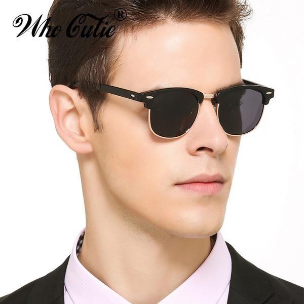 WHO CUTIE Hot Rays Square 3016 Clubmaster Sunglasses Men Women Half Frame Classic  Club Master Sun Glasses Shades oculos OM39 368a9a9ab0