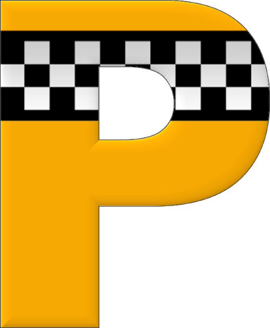 Buchstabe Letter P Yellow Cabs Alphabet Numbers Font