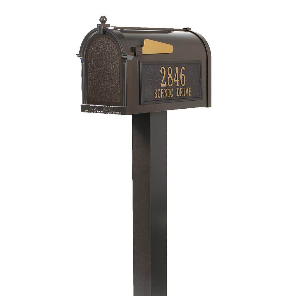Whitehall Products Premium French Bronze Streetside Mailbox 16318 The Home Depot In 2021 Whitehall Products Mounted Mailbox Whitehall