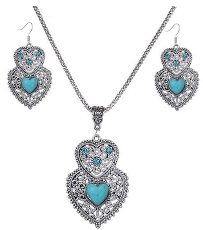 Vintage Tibetan Silver Pretty Heart Turquoise Necklace and Earrings Jewelry Set $3.69 Shipped! - http://couponingforfreebies.com/vintage-tibetan-silver-pretty-heart-turquoise-necklace-and-earrings-jewelry-set-3-69-shipped/