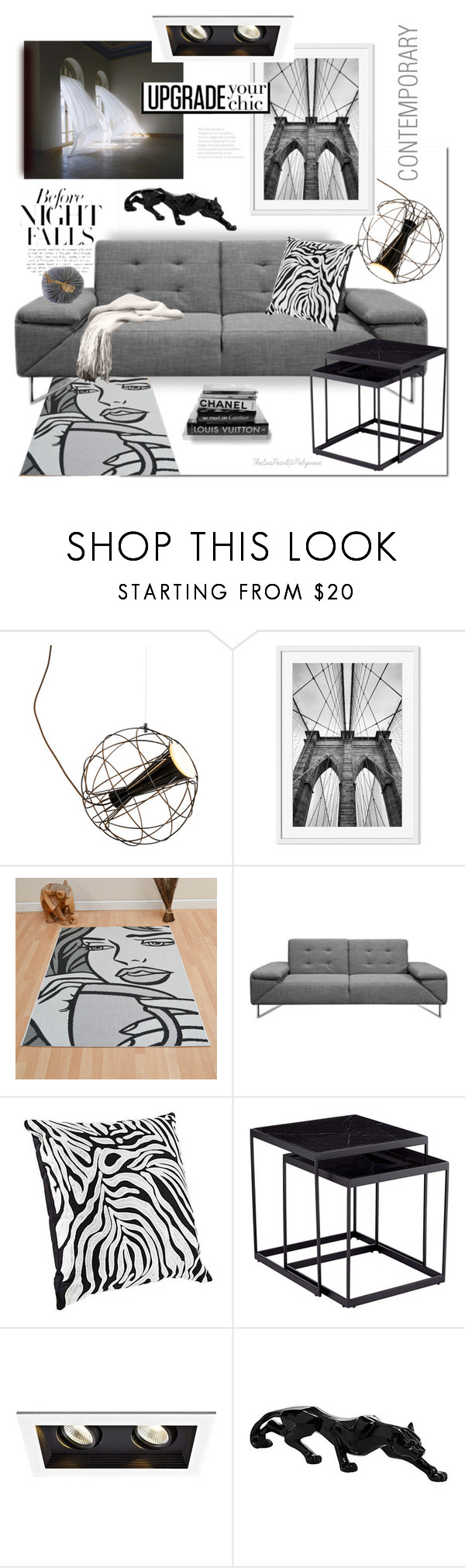 """""""Before Night Falls"""" by theseapearl ❤ liked on Polyvore featuring interior, interiors, interior design, home, home decor, interior decorating, WAC Lighting, contemporary, livingroom and chic"""