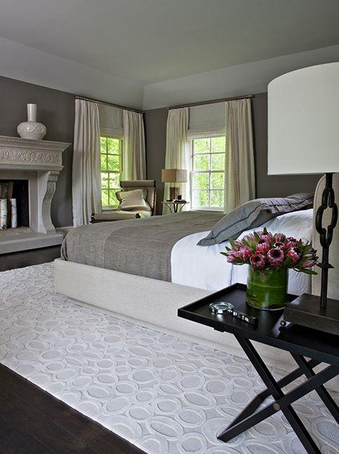 guest bedroom, master bedroom, fireplace, gray, neutral tones, nightstand, bed,