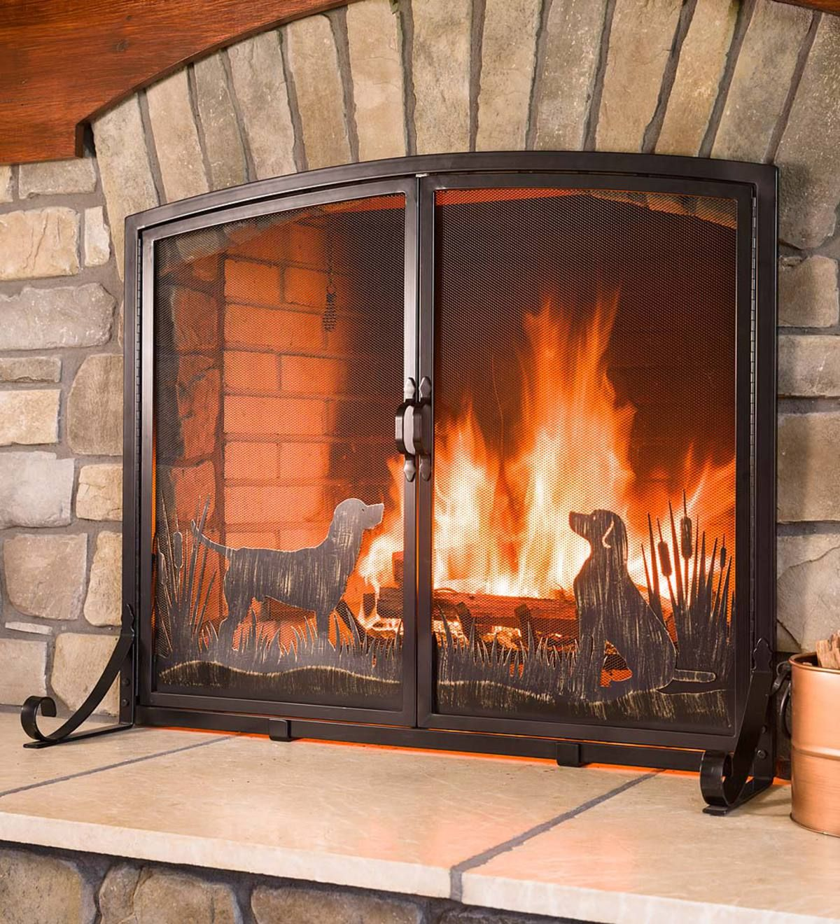 Show Your Love Of Labs With A Timeless Design Made To Enhance Your Fireplace Our Two Door Retriever D Fireplace Screens With Doors Fireplace Screen Fireplace
