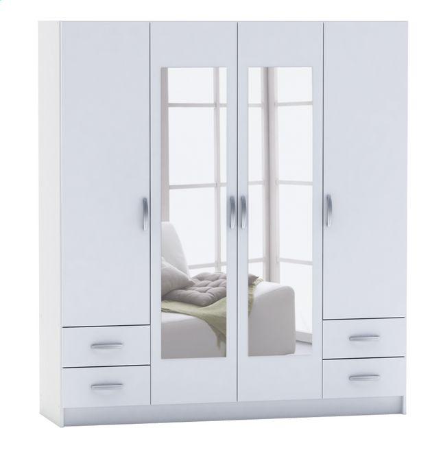 afbeelding van demeyere meubles kleerkast met 4 deuren en 4 laden spot 42 wit from collishop 330. Black Bedroom Furniture Sets. Home Design Ideas