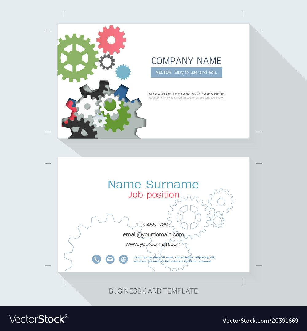 Engineering Business Card Or Name Card Template In Table Name Card Template B Free Business Card Templates Vector Business Card Vertical Business Card Design