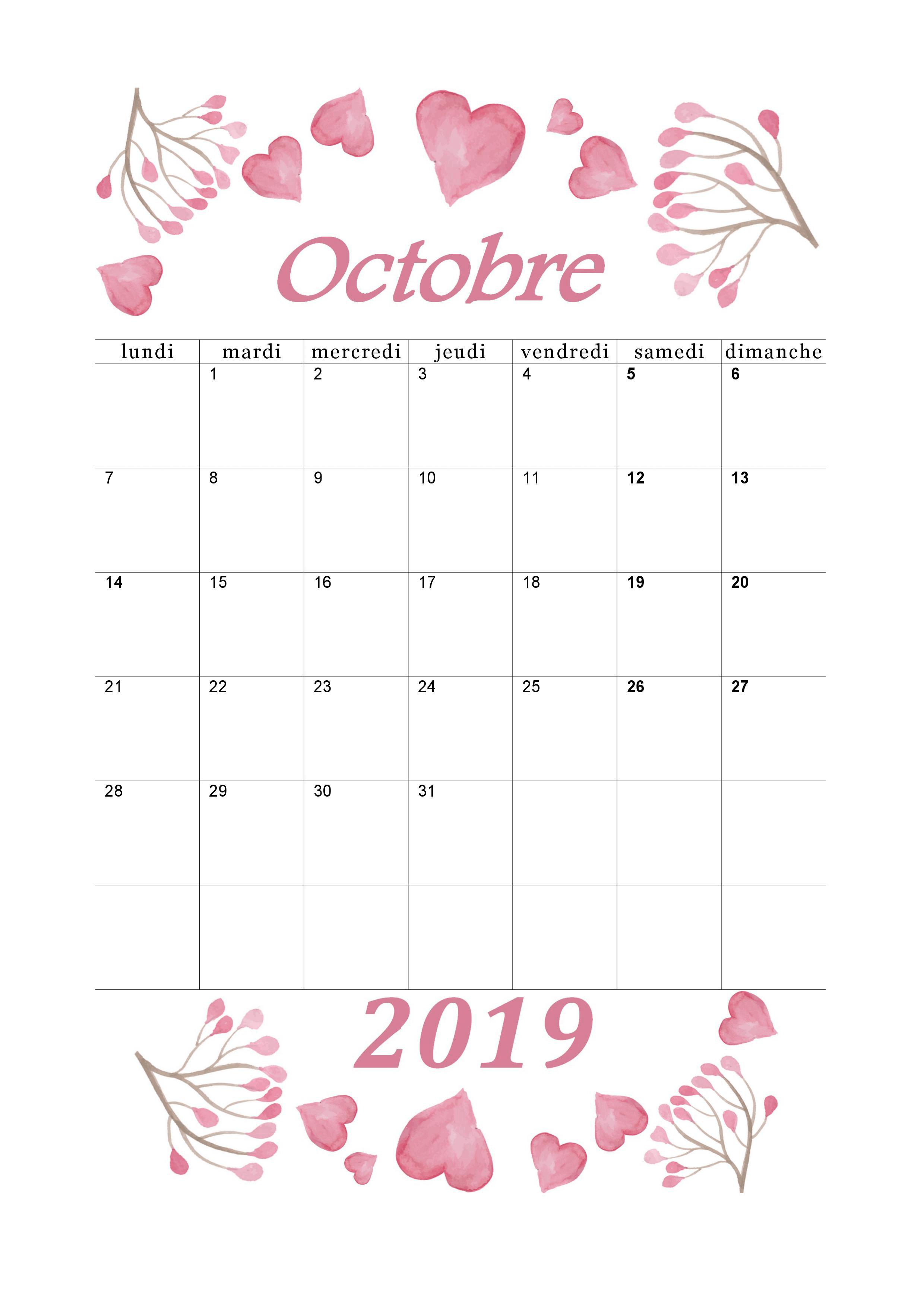 Octobre Calendrier 2019.Calendrier Octobre 2019 A Imprimer Calendriers Imprimables