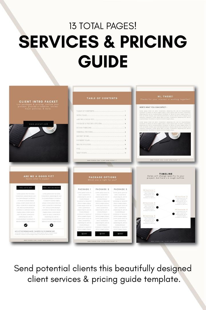 Services Guide Template - Send potential clients this beautifully designed client services & pricing guide template.
