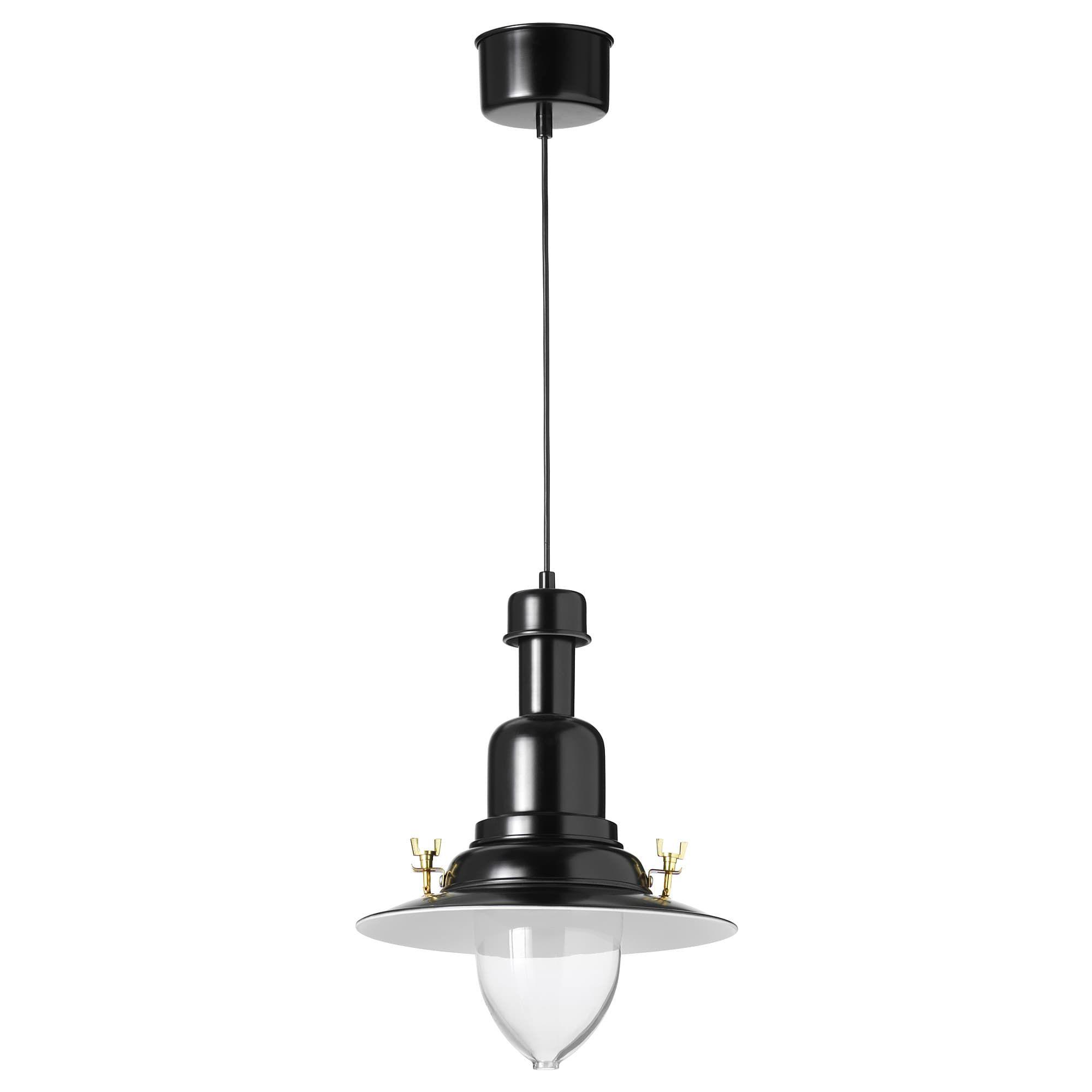 Ikea Ottava Black Pendant Lamp Pendant Lamp Clear Light Bulbs