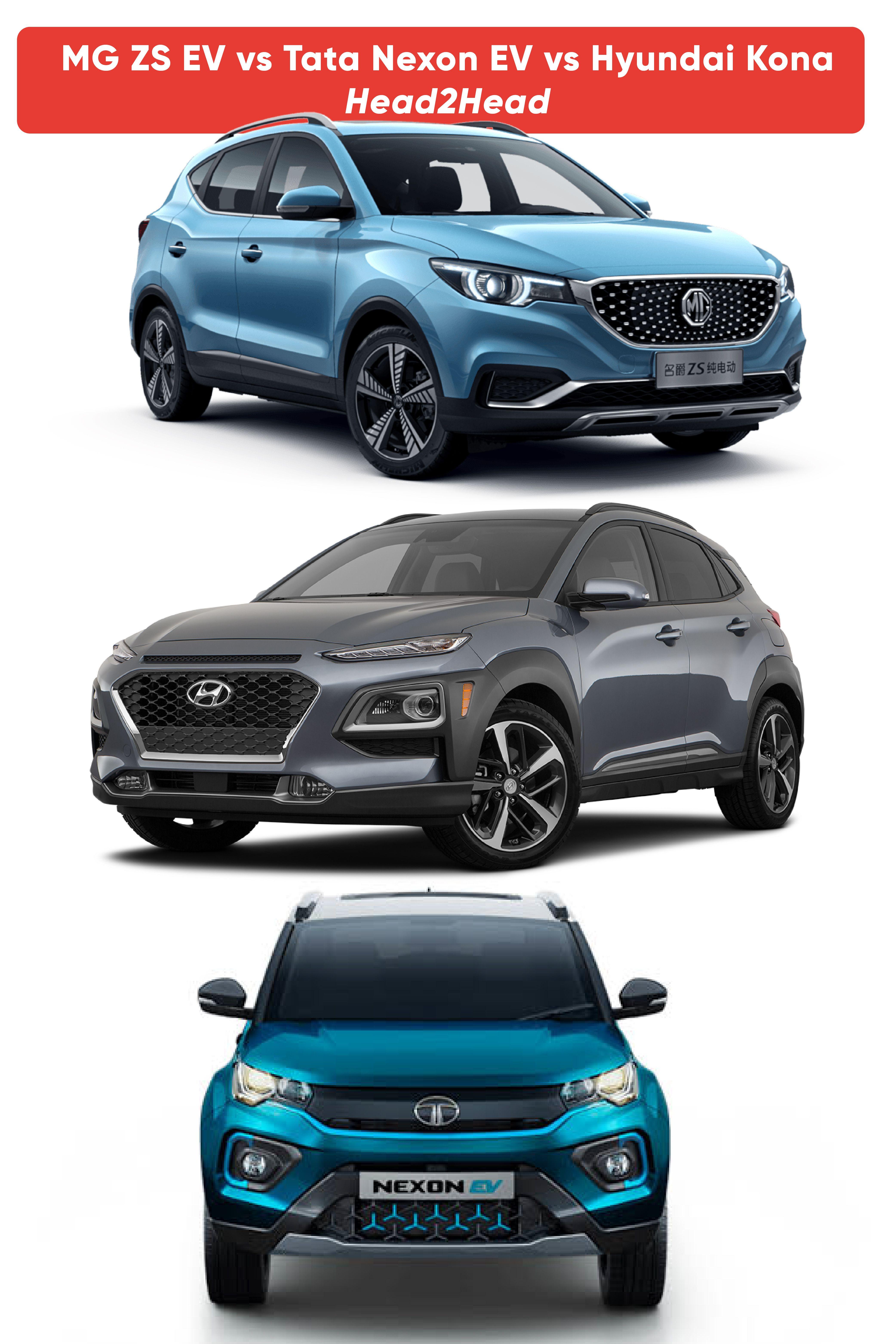 MG ZS EV vs Tata Nexon EV vs Hyundai Kona Head2Head