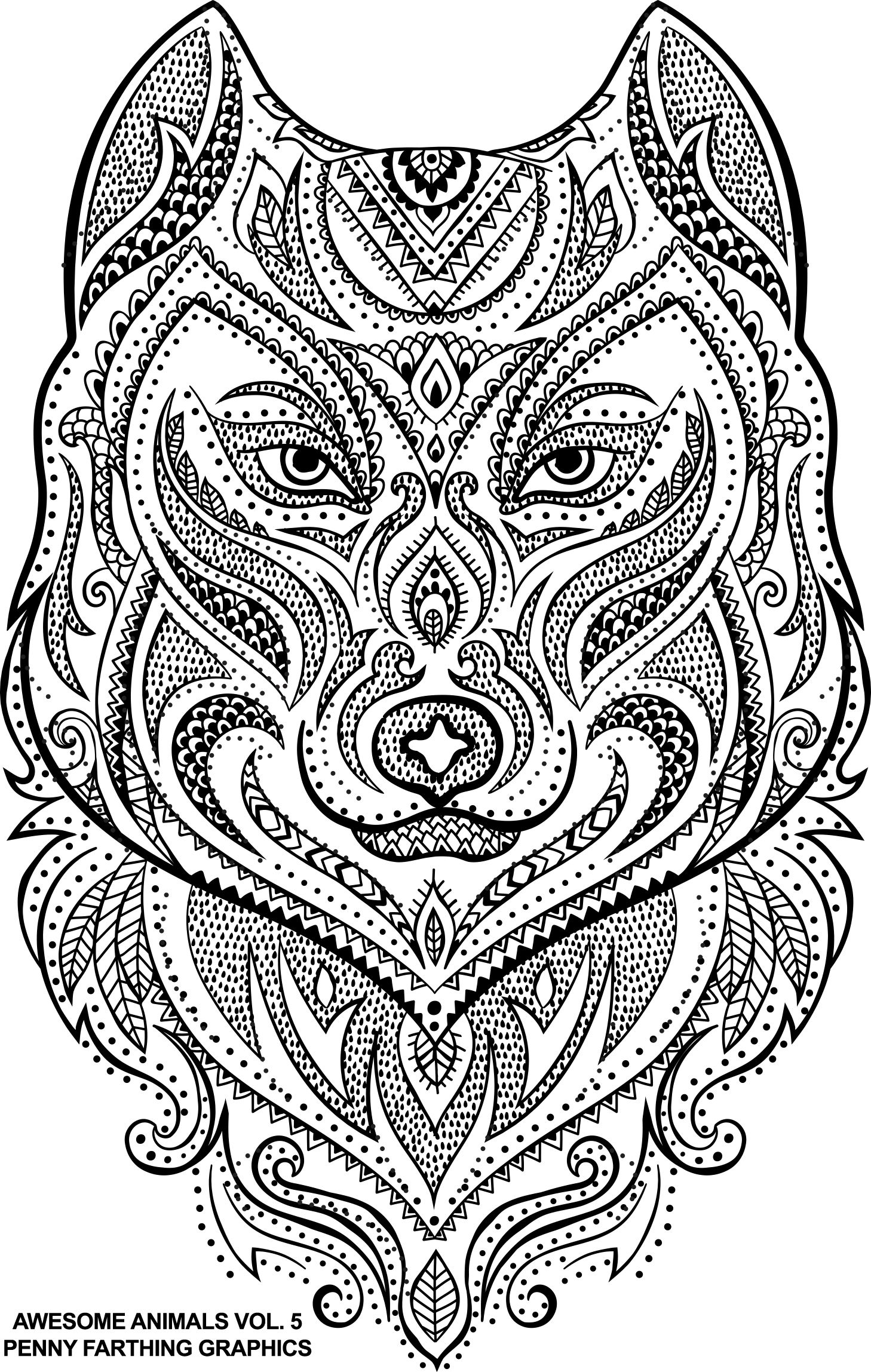 The Wolf From Awesome Animals 5 Animal Coloring Pages