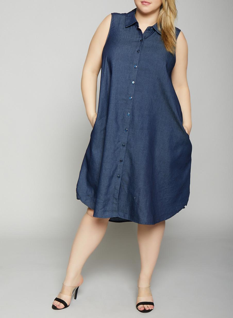 Plus Size Blue Jean Shirt Dresses