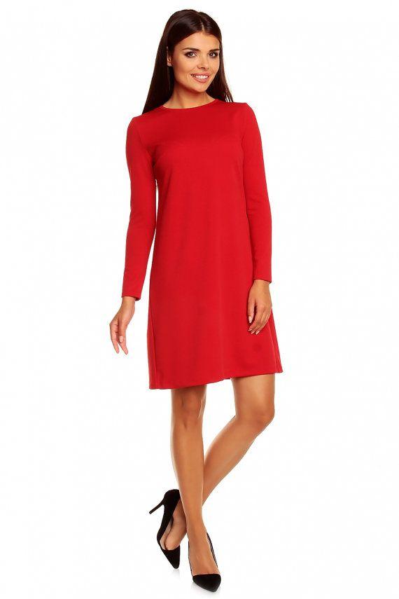 cheap for discount cb65e 87035 Rote Skater Kleid Kleider / Langarm / Frau / gestrickte ...