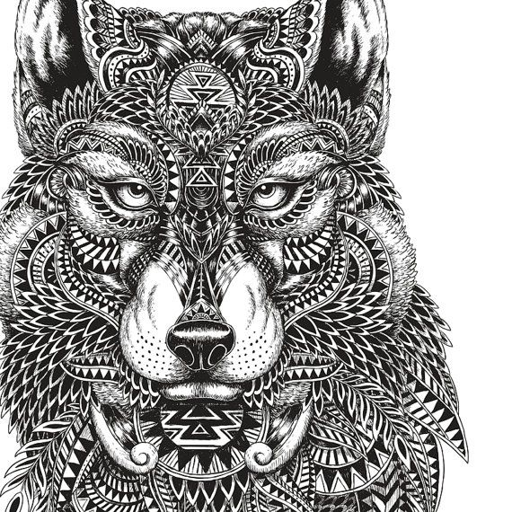 Wolf Coloring Page by ILoveColoring on Etsy | Zentangle ...