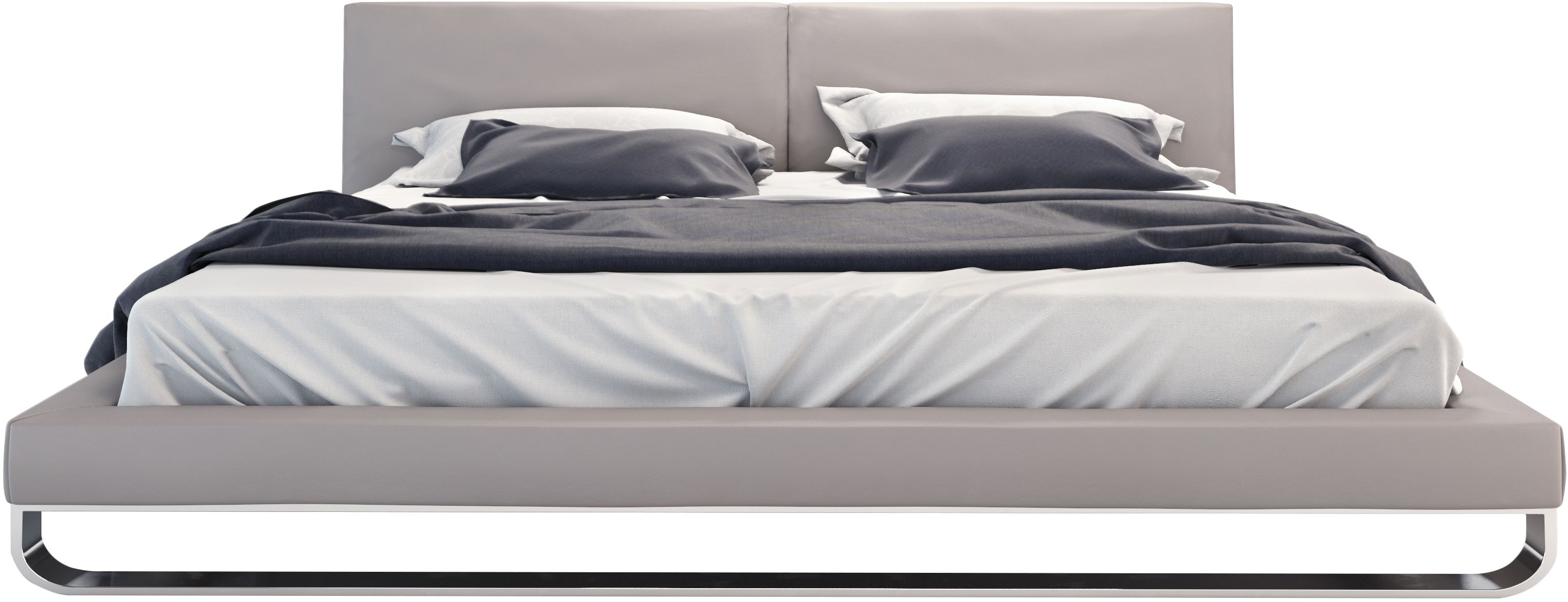 The Chelsea bed is a fine example of skilled artisan handwork and sophisticated design. Distinguishing this bed is the neatly tailored headboard, with middle seam line and clean side folds. The firm eco pelle upholstered headboard and frame rests atop a rounded polished steel base. Inner-spring or Foam/Latex mattress sits snuggly atop a flat, solid pine platform with air ventilation providing a cleaner, healthier sleep. Platform height measures 10 inches (1 inch mattress inset). No box s...