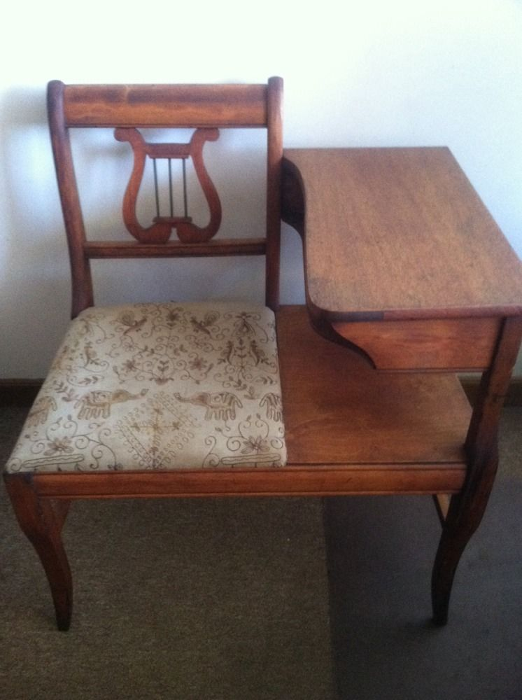 ANTIQUE WOODEN GOSSIP BENCH~CHAIR/DESK/ PHONE TABLE