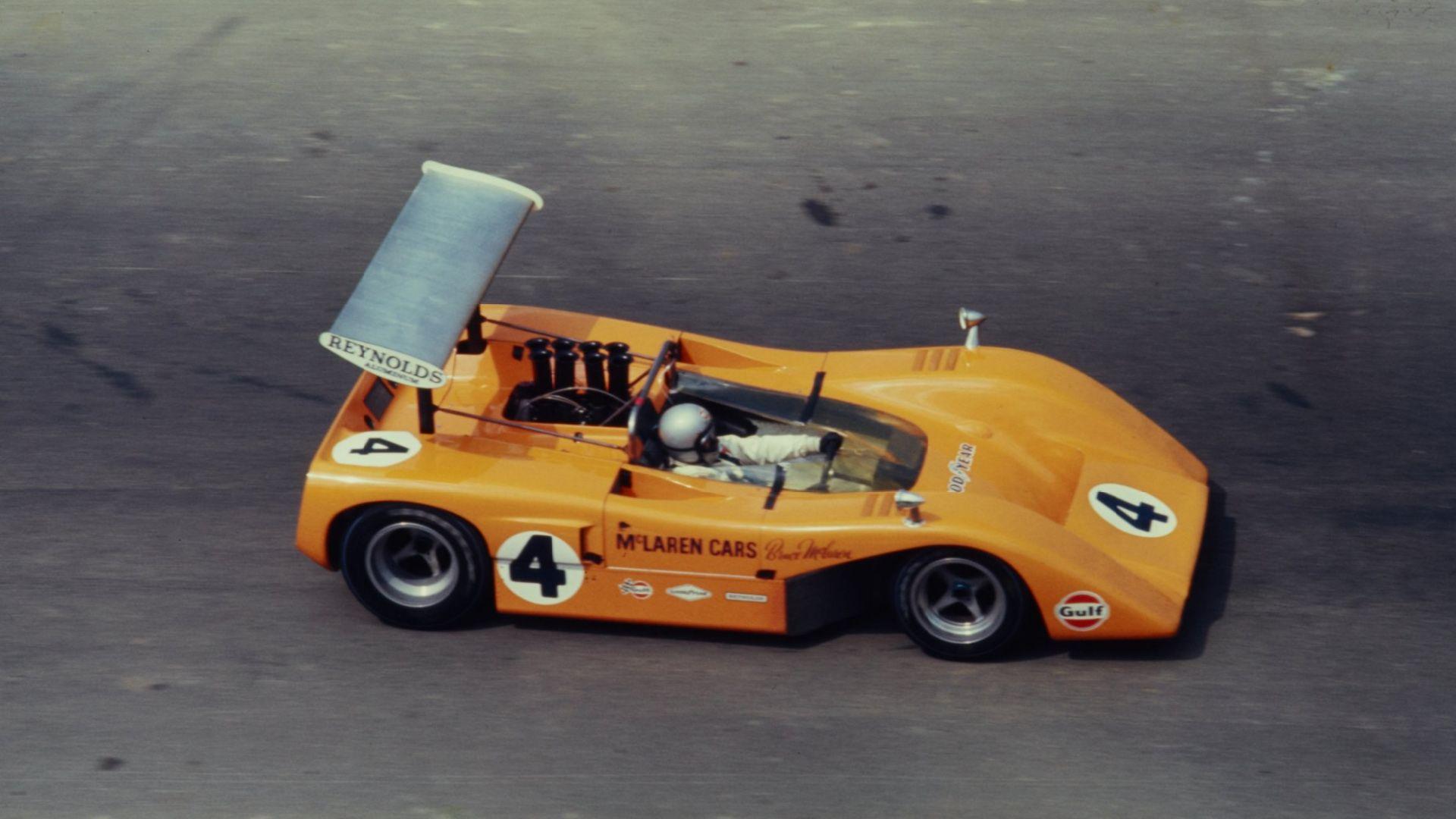 bruce mclaren drives his mclaren m8b, 1969. mclaren and hulme won