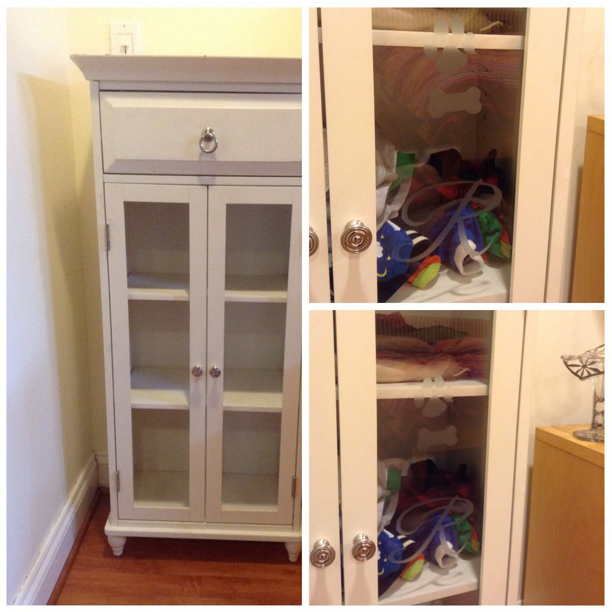 I Took An Old Cabinet That I Wasnu0027t Using And Etched The Glass And Turned  It Into A Doggie Closet. Loaded With Shelved For All Is Clothes And  Finished Off ...