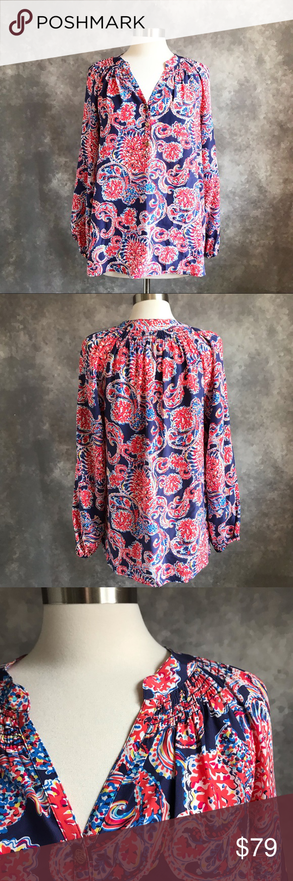 """c090dfacd3fb07 Lilly Pulitzer Silk """"For the Halibut"""" Elsa Blouse Lilly Pulitzer """"For The  Halibut"""" print silk Elsa popover tunic top. Coral and navy paisley print."""