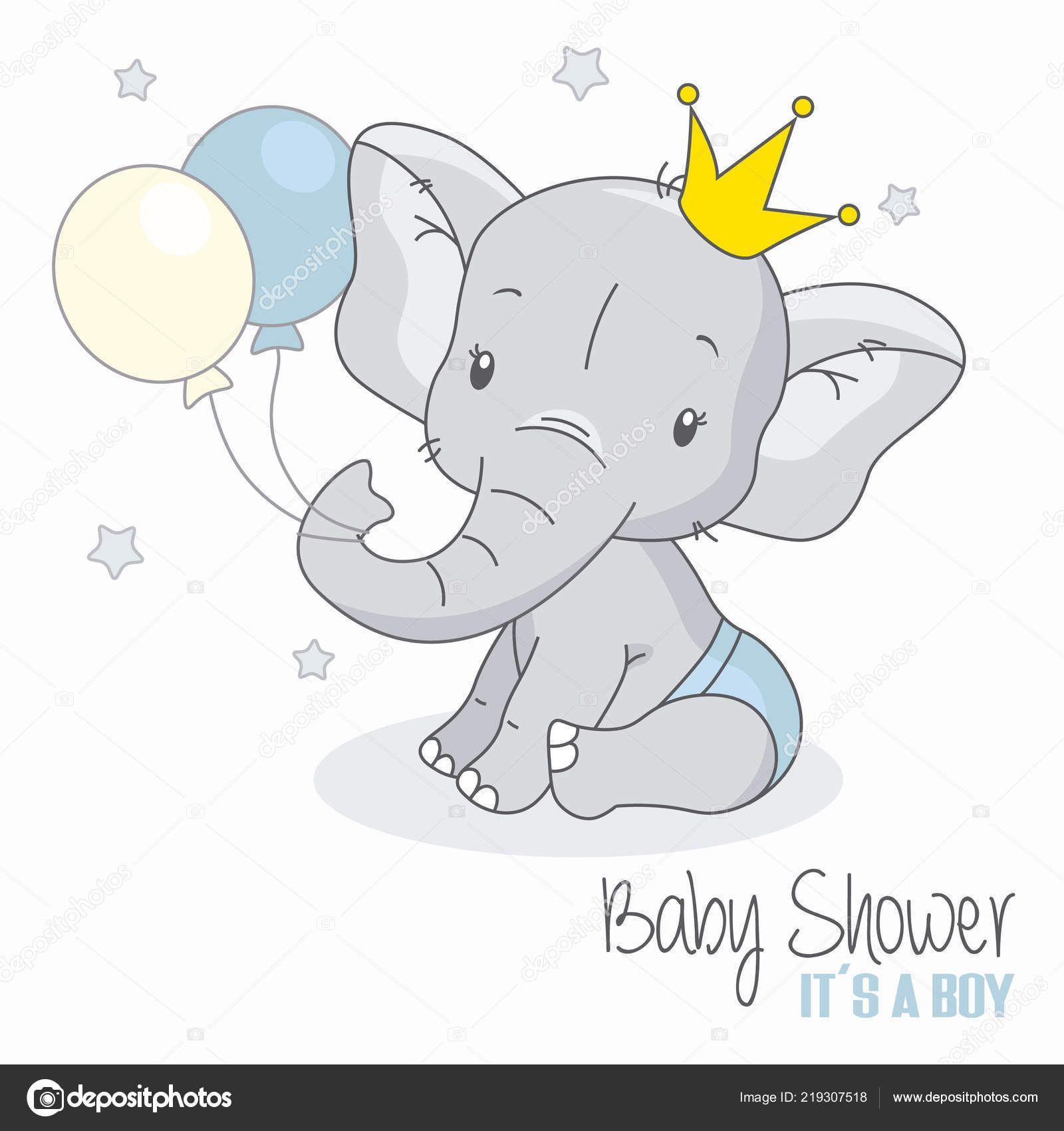 Herunterladen - Baby Dusche Junge Niedlichen Elefanten Mit