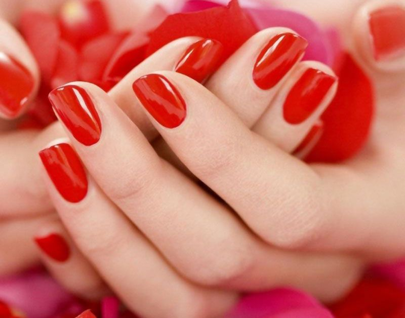 Red Nail Polish Manicure