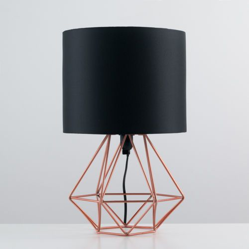 Geometric retro style wire cage table lamps bedside lights copper geometric retro style wire cage table lamps bedside lights copper chrome black greentooth Choice Image