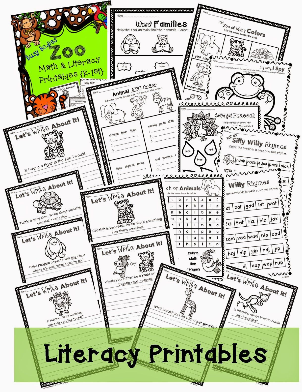 Zoo Themed Math And Literacy Print And Go Visit My Blog