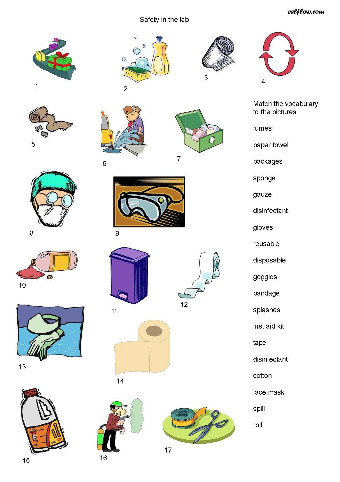 Image Safety Equipment Vocabulary Worksheet Science Lab Safety Lab Safety Vocabulary Worksheets