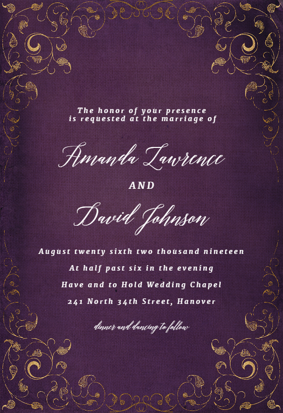 Swirls And Frames Purple Wedding Invitation Template Greetings Island Purple Wedding Invitations Engagement Party Invitations Wedding Invitation Card Template