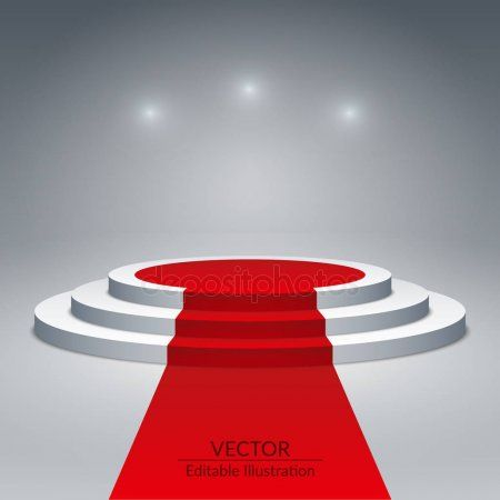White round pedestal with red carpet and spotlights